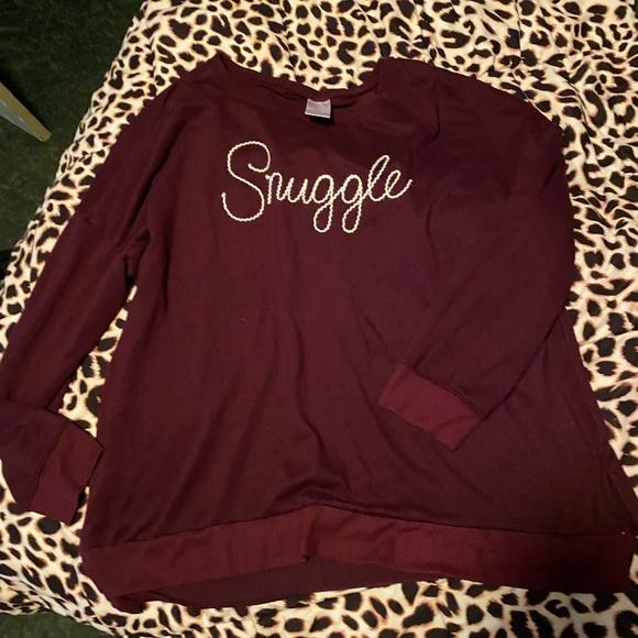 """Snuggle"" long sleeve soft maroon shirt"